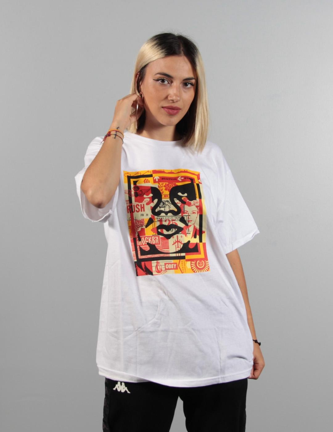 Camiseta Obey 3 FACE COLLAGE - White