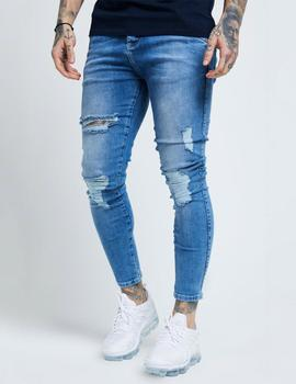 Pantalón Siksilk DISTRESSED SKINNY - Mid wash denim