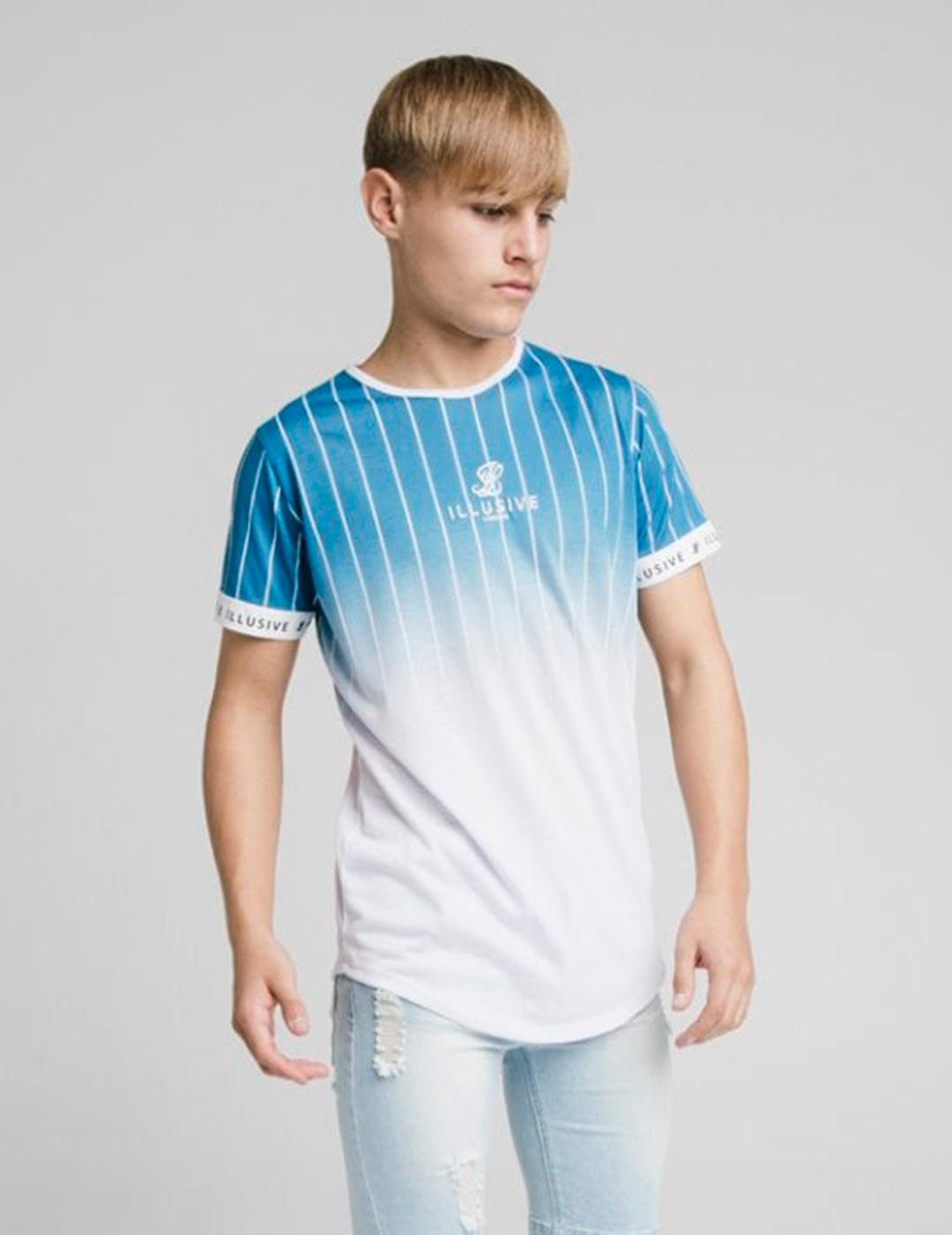 Camiseta Illusive FADE STRIPE TECH TEE - Teal - White