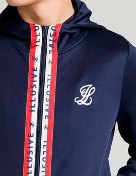 Sudadera capucha ILLUSIVE LONDON CENTRAL TAPE ZIP - Navy