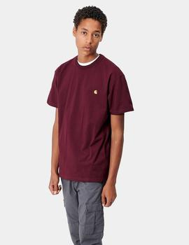 Camiseta Carhartt CHASE SS - Bordeaux Gold