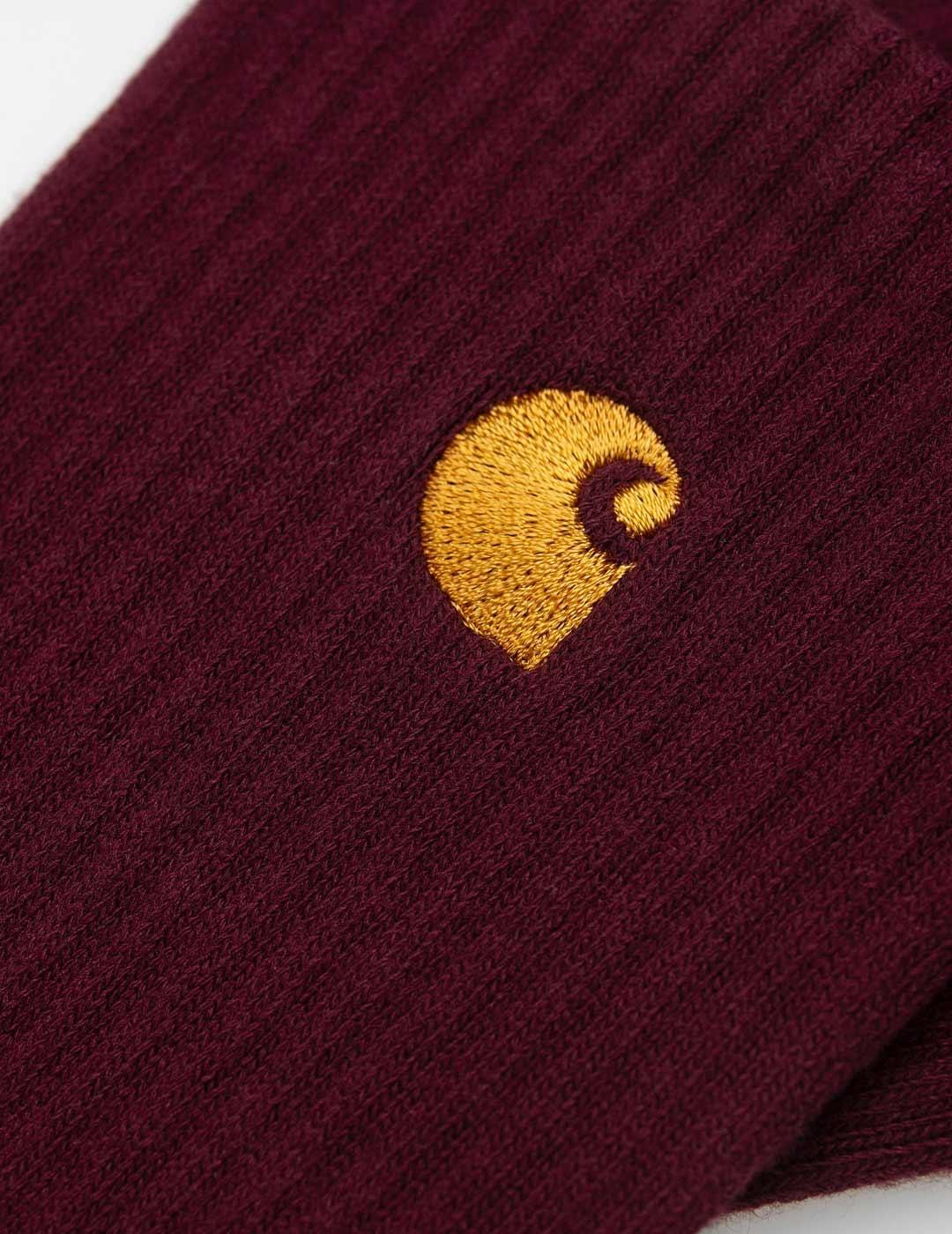 Calcetines Carhartt CHASE - Bordeaux / Gold