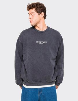 Sudadera Crew KAOTIKO WASHED EYES TALK - Negro