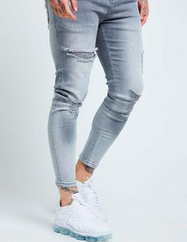 Pantalón SikSilk SKINNY DISTRESSED DENIM - Washed Grey
