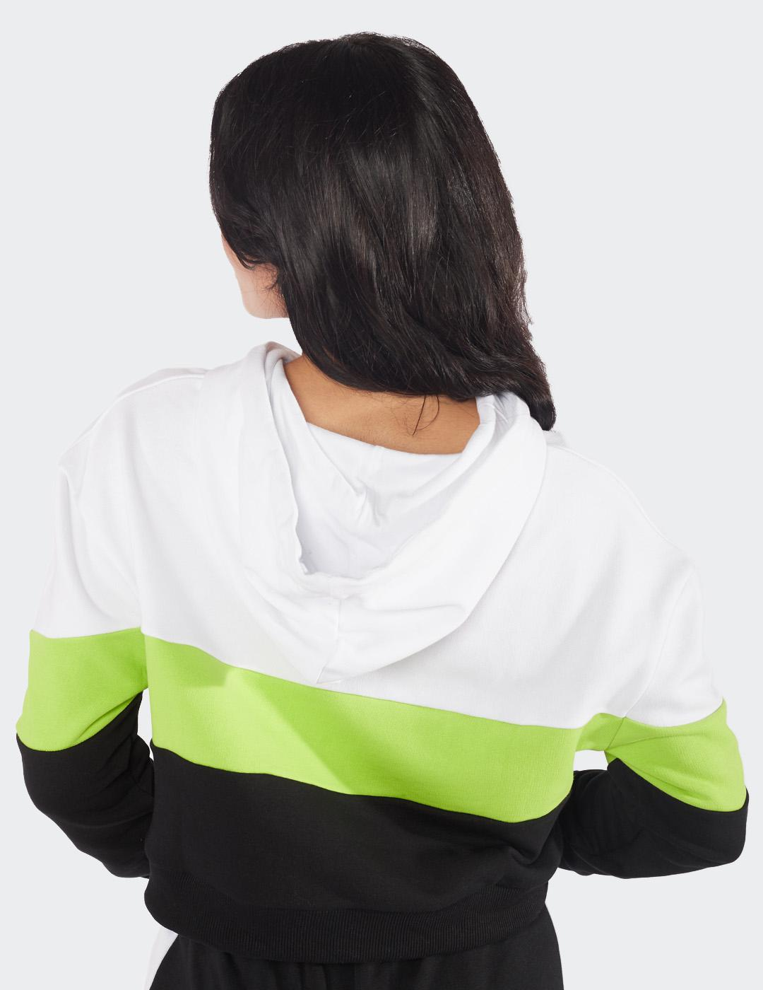 Sudadera Eleven Capucha CROPPED PANEL - Black/White/Lime